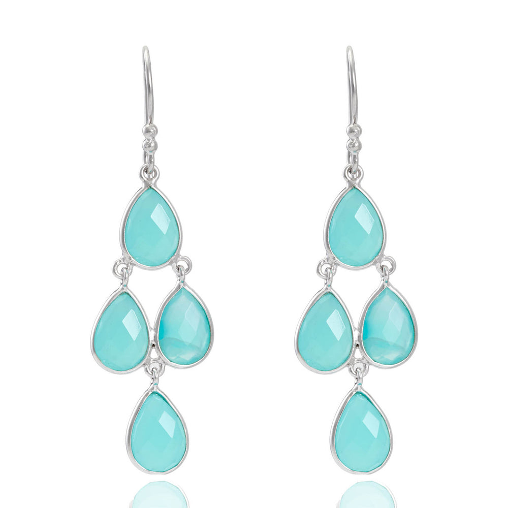 Buy Online  Corona Collection Sterling Silver Chandelier Earrings with Aqua Chalcedony