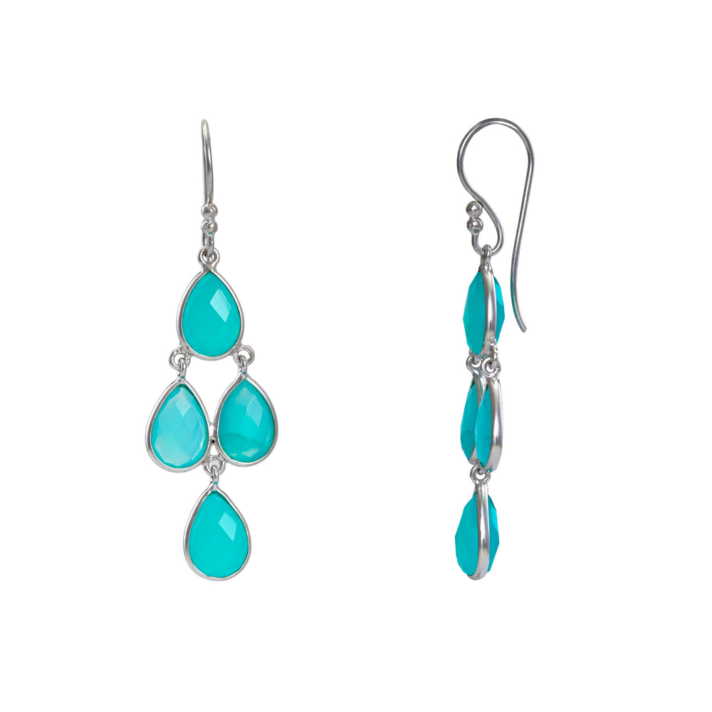 Buy Online Aqua Chandelier Earrings- Corona Collection Sterling Silver Chanderlier Earrings with Aqua Chalcedony UK