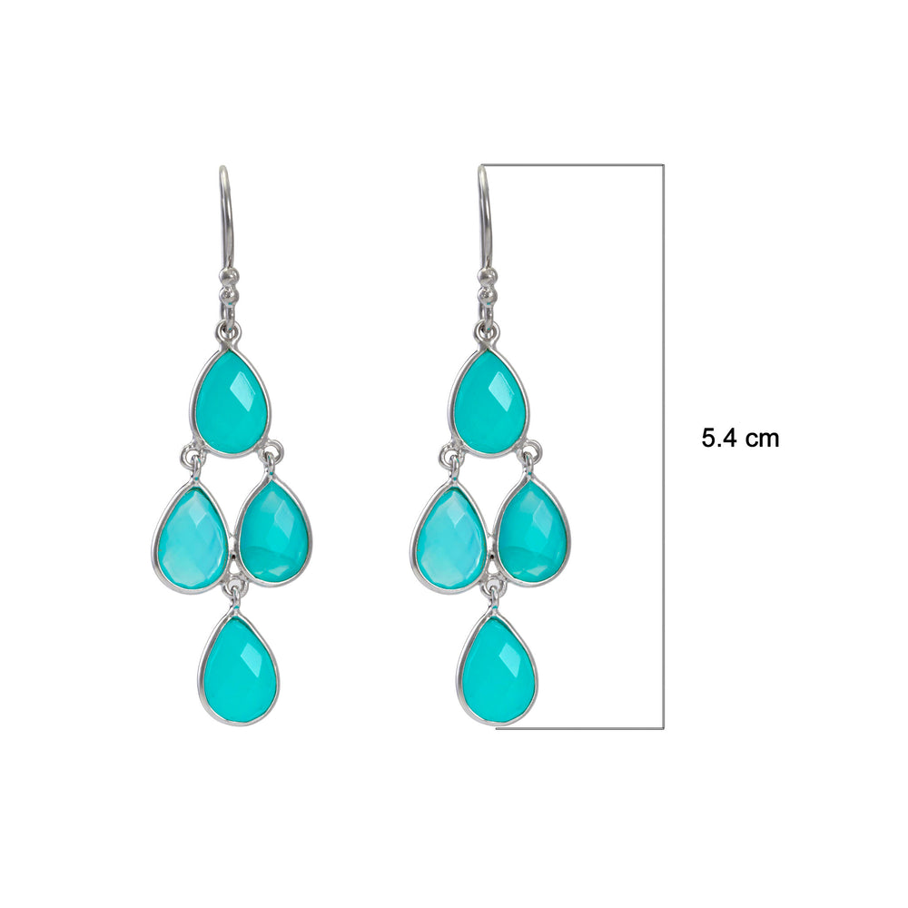 Buy Hook Chandelier Earrings Online -Corona Collection Sterling Silver Chanderlier Earrings with Aqua Chalcedony 3