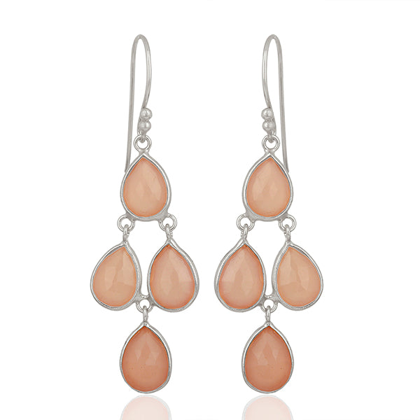 Buy Online  Corona Collection Sterling Silver Chanderlier Earrings with Rose Quartz 1