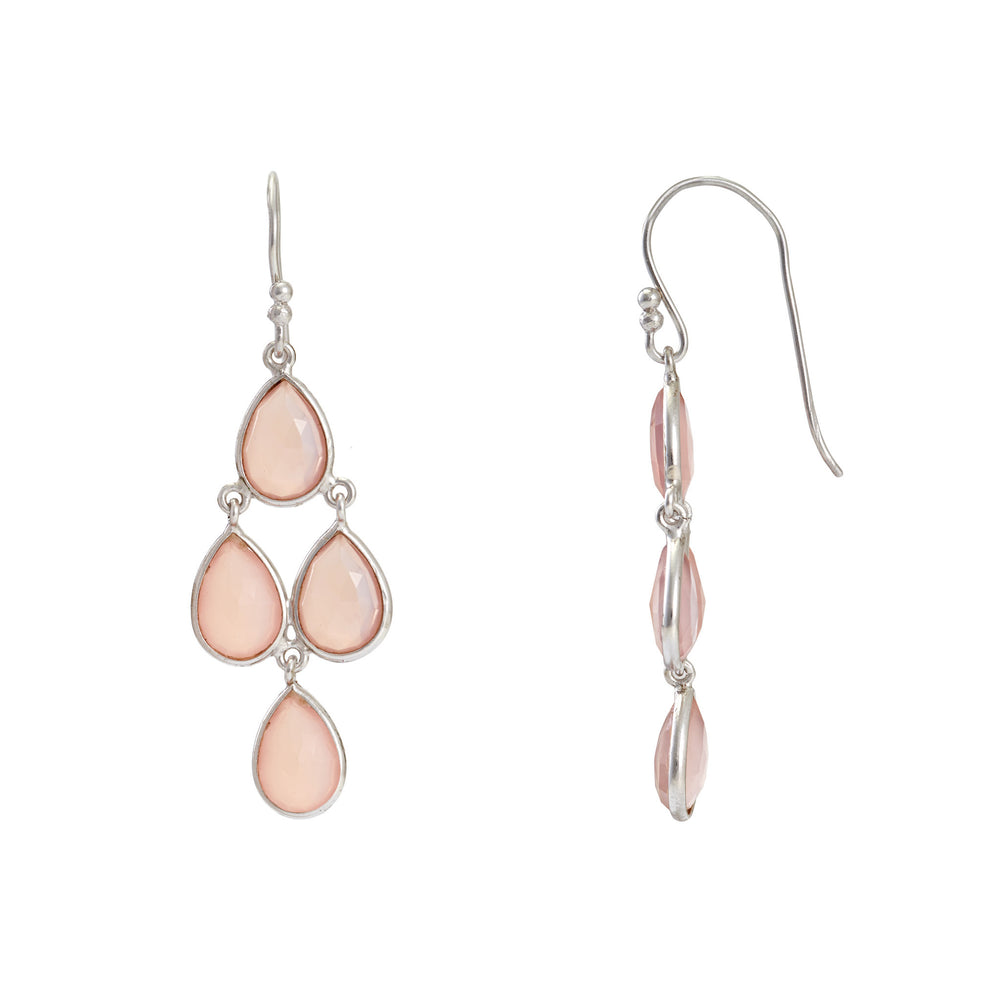 Corona Sterling Silver Chandelier Earrings with Rose Chalcedony