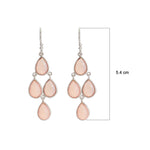 Buy Hook Chandelier Earrings Online-Corona Collection Sterling Silver Chanderlier Earrings with Rose Quartz UK