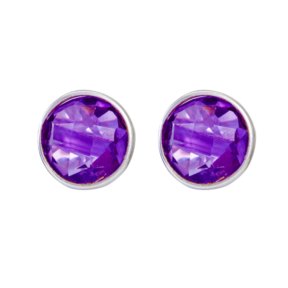 Buy Online Simple Sterling Silver Studs- Corona Sparkling Sterling Silver Stud Earrings With Amethyst UK