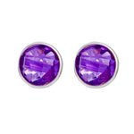 Buy Online Corona Sparkling Sterling Silver Stud Earrings With Amethyst