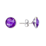 Buy Online  Circular Shaped Amethyst Earrings- Corona Sparkling Sterling Silver Stud Earrings With Amethyst UK