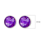 Buy Online Simple Sterling Silver Studs- Corona Sparkling Sterling Silver Stud Earrings With Amethyst
