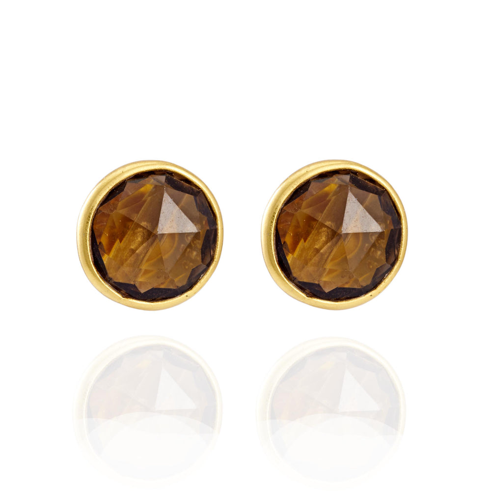 Buy Online Corona Collection Stunning Sterling Silver Stud Earrings with Smoky Topaz 1