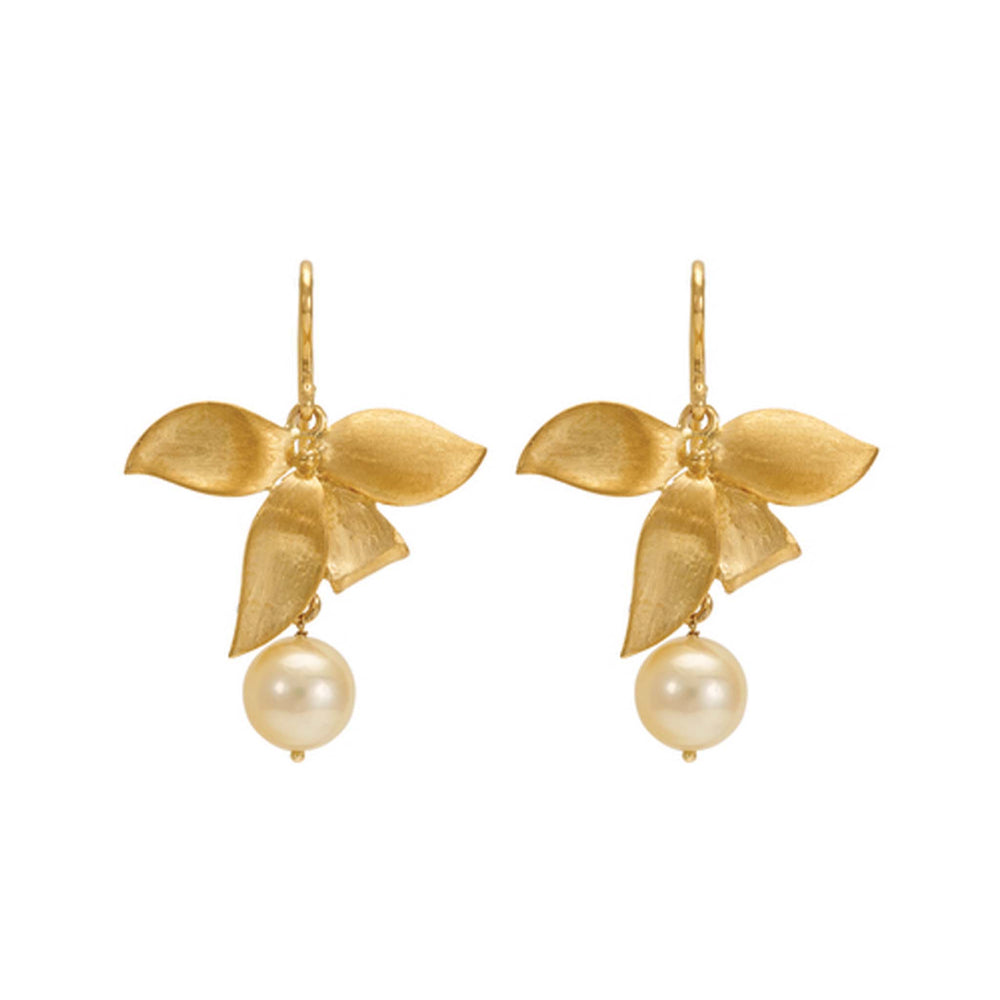 Hema Handmade Classic Pearl 18ct Yellow Gold Earrings