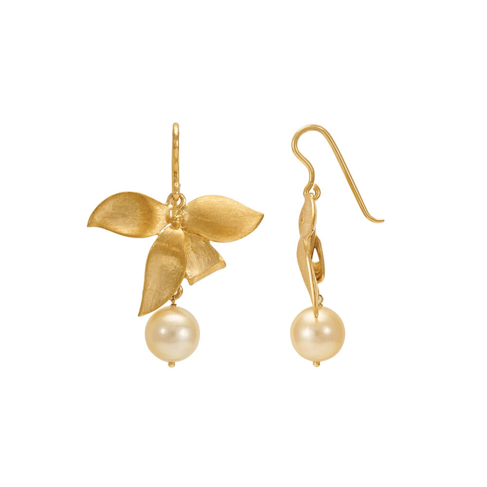 Buy Online 18ct Gold Leaf Aligned Earrings- Hema Handmade Classic Pearl 18ct Yellow Gold Earrings UK