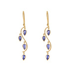 Hema Handmade Floating Tanzanite 18ct Yellow Gold Earrings
