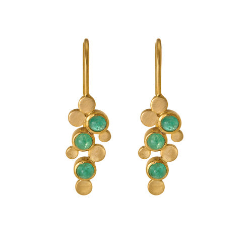 Hema Handmade Abstract Emerald 18ct Yellow Gold Earrings