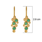 Buy Handmade Earrings Online-Hema Collection Handmade Abstract Emerald 18ct Yellow Gold Earrings UK