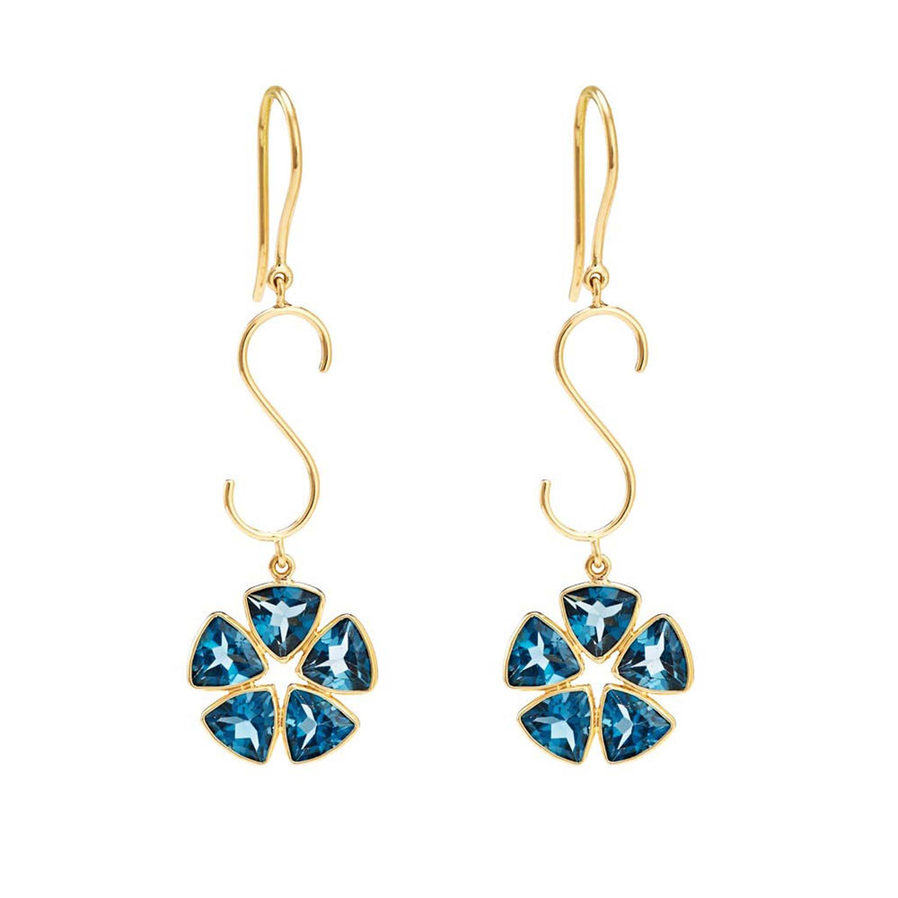 Hema Handmade London Blue Topaz 18ct Yellow Gold Earrings