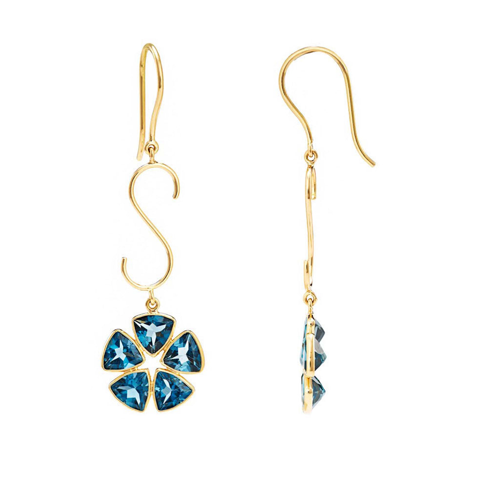 Buy Online  Triangle Cut Gemstone Earrings- Hema Collection London Blue Topaz 18ct Yellow Gold Earrings 2