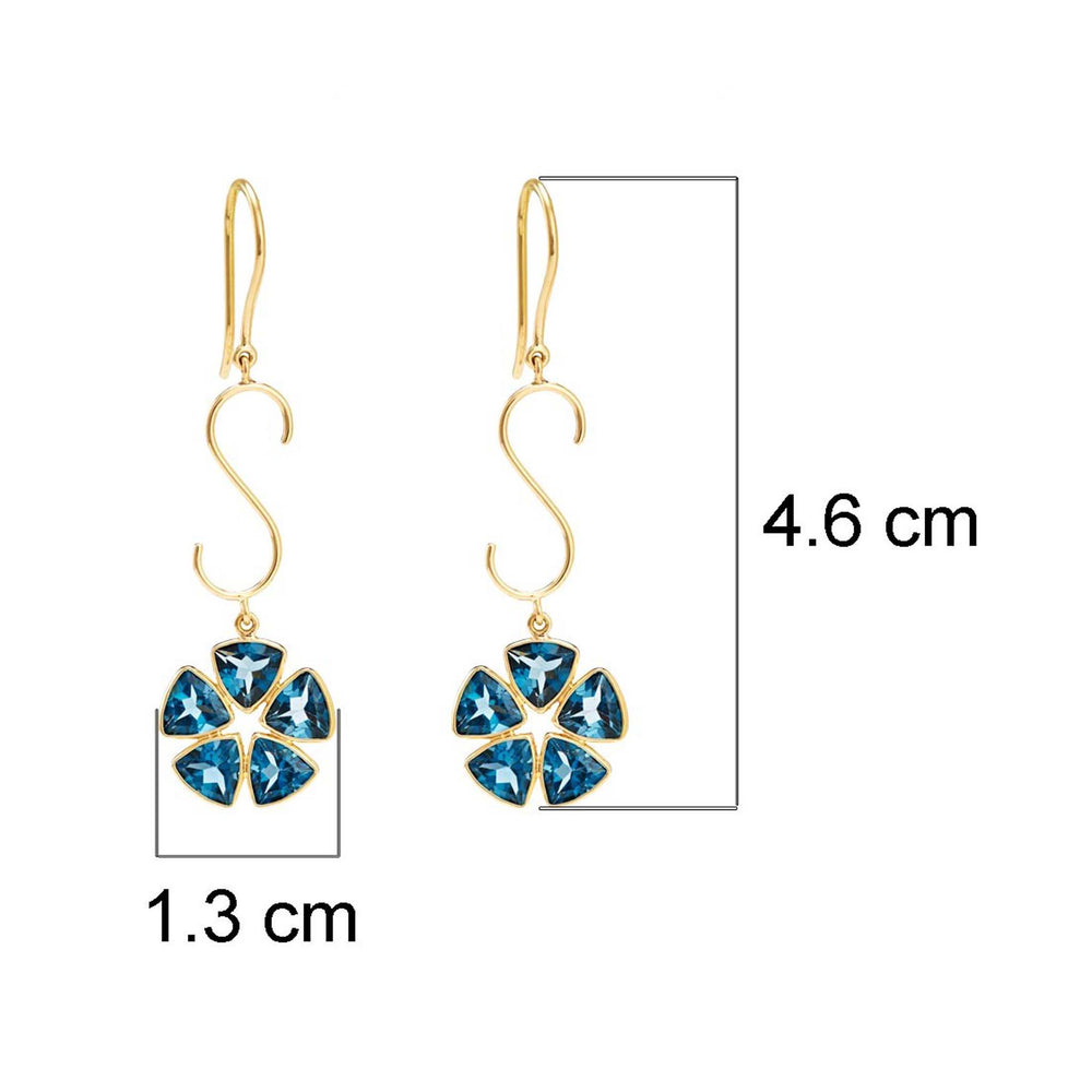 Buy Handmade Earrings Online- Hema Collection London Blue Topaz 18ct Yellow Gold Earrings UK
