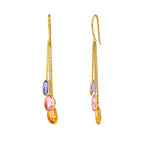 Buy Online Multistone Earrings Online -Hema Multi Sapphires 18ct Yellow Gold Earrings 2