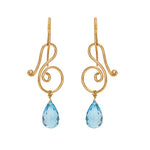 Hema Handmade Musical Blue Topaz 18ct Yellow Gold Earrings