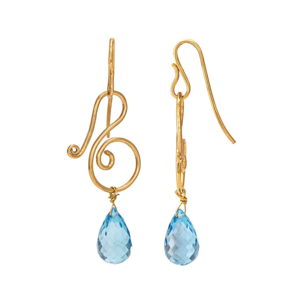 Buy Handmade Earrings Online Hema Collection Musical Blue Topaz 18ct Gold Earrings UK
