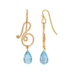 Buy Online Blue Topaz Drop Hangings- Hema Collection Musical Blue Topaz 18ct Gold Earrings 2