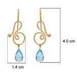 Buy Handmade Earrings Online Hema Collection Musical Blue Topaz 18ct Gold Earrings 3