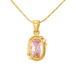 Hema Handmade Pink Tourmaline & Diamond Yellow Gold Pendant