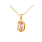 Buy Online Diamond Necklace- Hema Handmade Pink Tourmaline & Diamond Yellow Gold Pendant UK