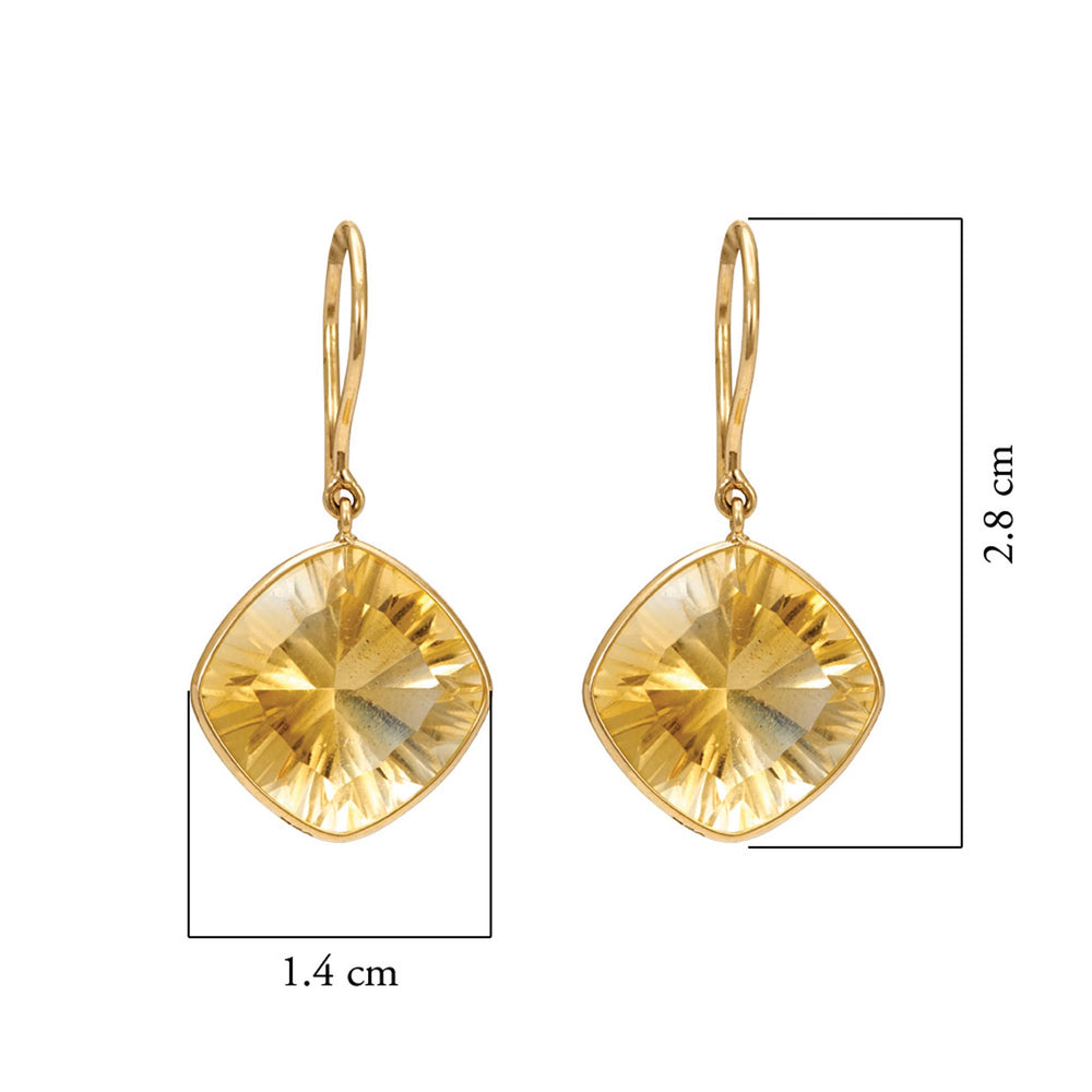 Buy Handmade Earrings Online- Hema Collection Regal Citrine Yellow Gold Earrings 3