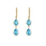 Hema Handmade Sparkly Blue Topaz 18ct Yellow Gold Earrings