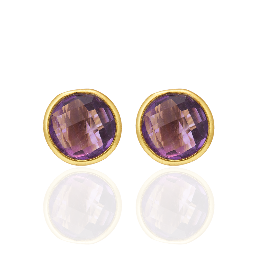 Corona Gold Finish Sterling Silver Stud Earrings with Amethyst