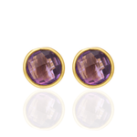 Hep Audrey Corona Collection Gold Finish Sterling Silver Stud Earrings with Amethyst 1