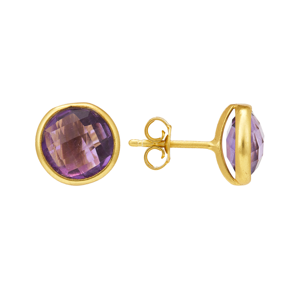 Hep Audrey Corona Collection Gold Finish Sterling Silver Stud Earrings with Amethyst 2