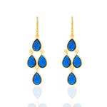 Corona Golden Sterling Silver Chandelier Earrings with Blue Corundum