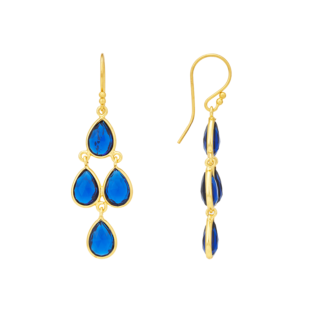 Hep Audrey Corona Collection  Golden Sterling Silver Chandelier Earrings with Blue Corundum 3