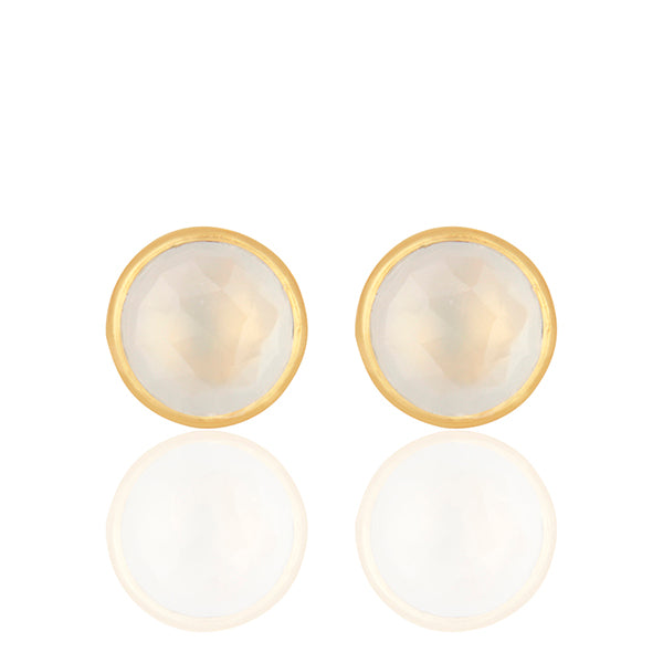 Hep Audrey Corona Collection Serene Sterling Silver Studs with White Chalcedony 1