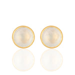 Buy Online Corona Collection Serene Sterling Silver Studs with White Chalcedony 1