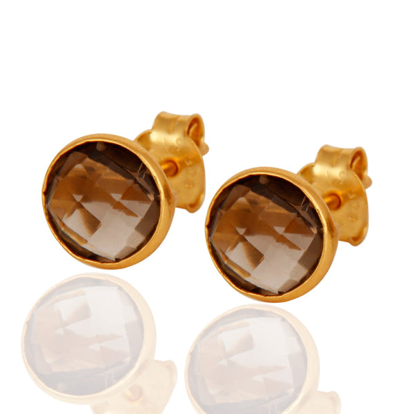 Buy Online  18ct Gold Earring Studs-Corona Collection Stunning Sterling Silver Stud Earrings with Smoky Topaz 1