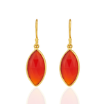 Corona Stunning Marquise Sterling Silver Earrings with Red Onyx