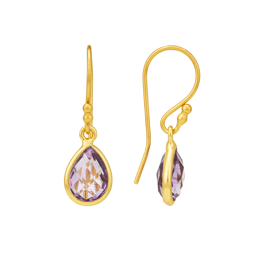 Hep Audrey Corona Colllection Gold Finish Small Pear Sterling Silver Earrings with Amethyst 3