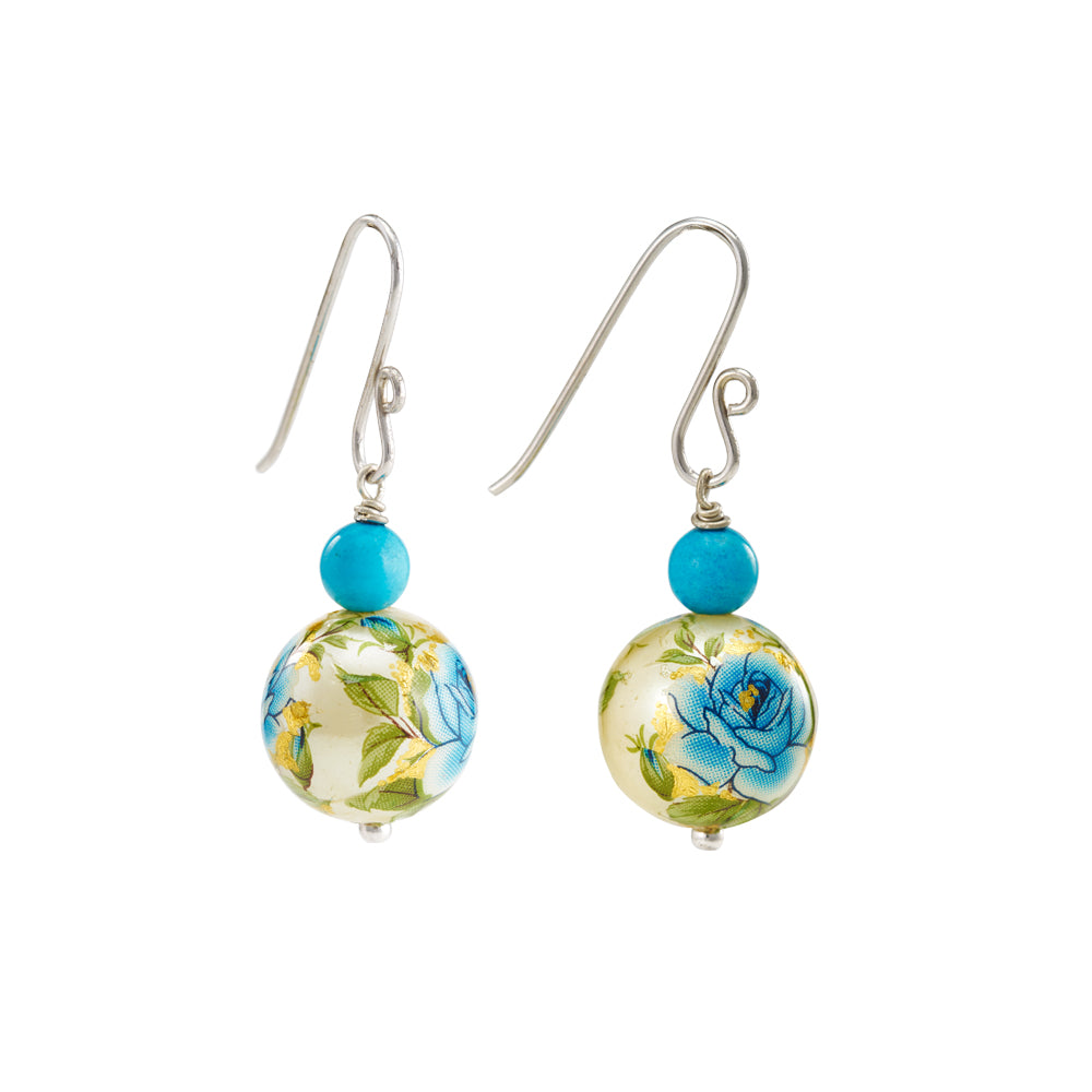 Hep Audrey Printed Pearls Floral Blue Earrings with Turquoise 2