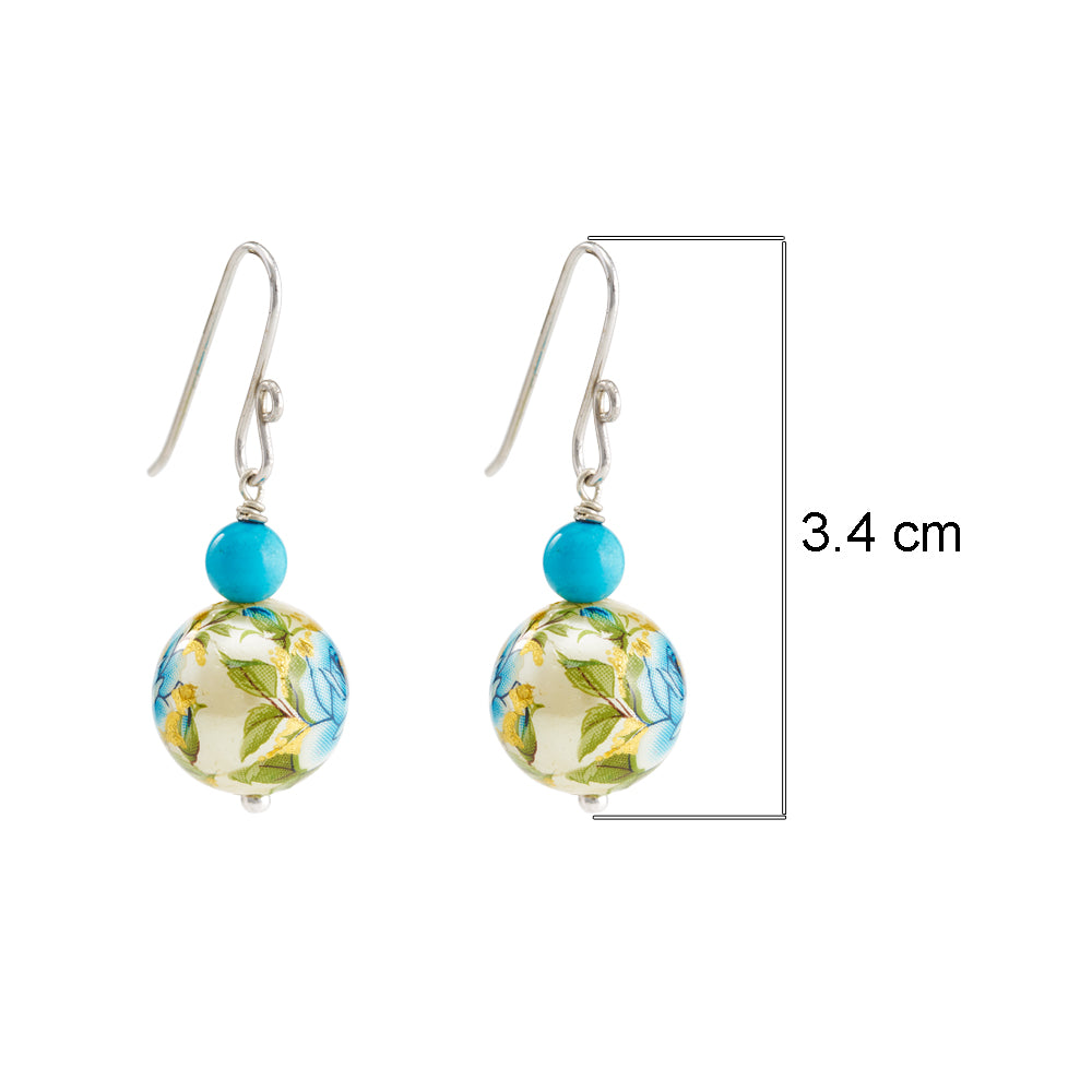 Buy - Hep Audrey Printed Pearls Floral Blue Earrings with Turquoise UK