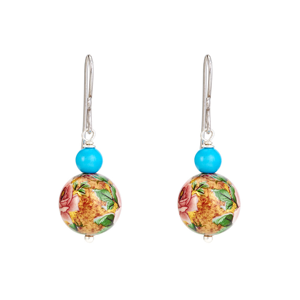 Hep Audrey Floral Pink Printed Pearl Earrings with Turquoise 1