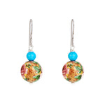 Hep Audrey Floral Pink Printed Pearl Earrings with Turquoise