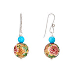 Hep Audrey Floral Pink Printed Pearl Earrings with Turquoise 2