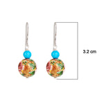 Hep Audrey Floral Pink Printed Pearl Earrings with Turquoise 3