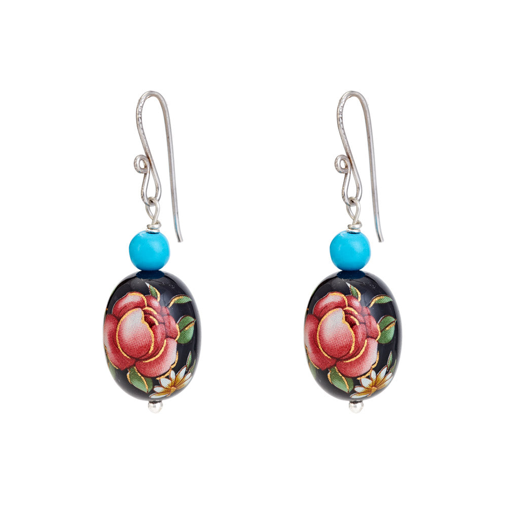 Hep Audrey Oval Black Printed Pearl Earrings with Turquoise
