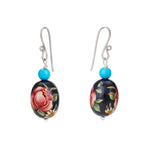 Hep Audrey Oval Black Printed Pearl Earrings with Turquoise 2