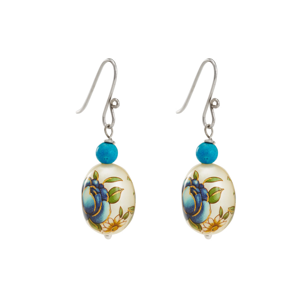 Hep Audrey Oval Blue Printed Pearl Earrings with Turquoise