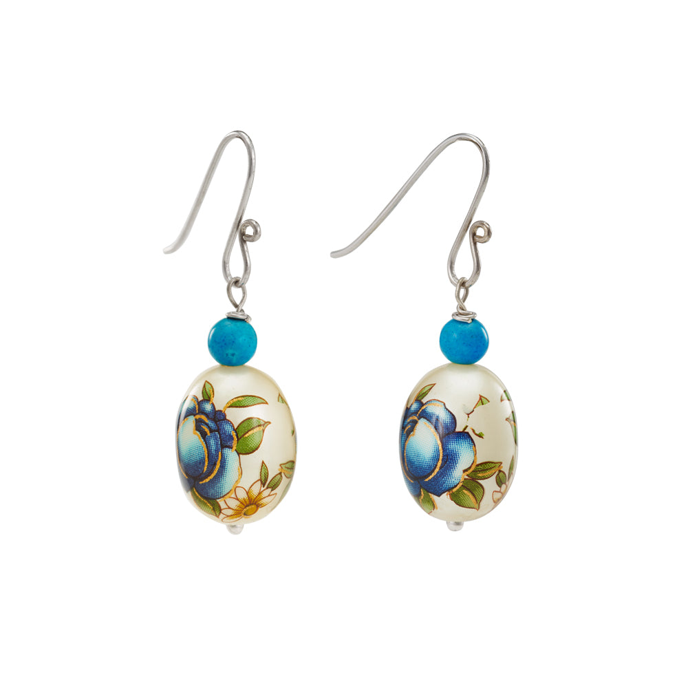 Buy- Hep Audrey Oval Blue Printed Pearl Earrings with Turquoise UK