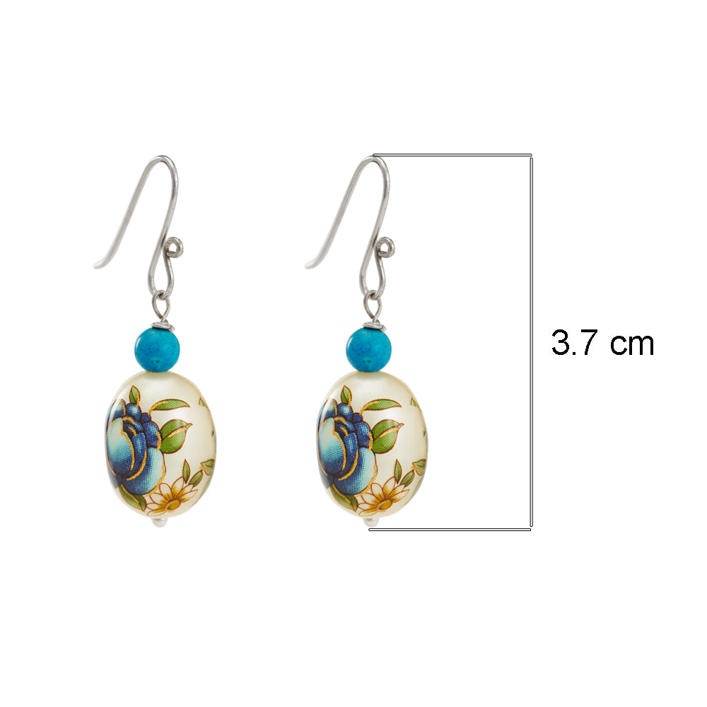 Hep Audrey Oval Blue Printed Pearl Earrings with Turquoise 3