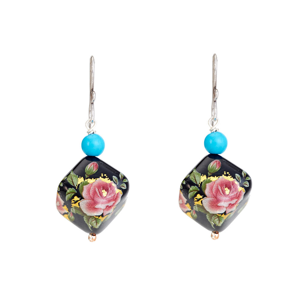 Hep Audrey Square Black Printed Pearl Earrings with Turquoise 1